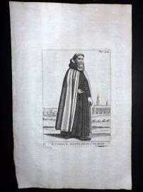 Dugdale 1718 Antique Religious Costume Print. A Cannon Regular of St. Gilbert